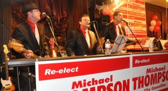 Play Back performs during Thompson's victory party at the Victoria and Albert Pub.
