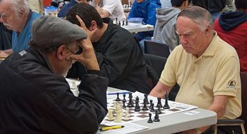 Scarborough Chess Club president Maurice Smith (right) contemplates his next move. Since joining in 1976, Smith has seen the club go through some tough times and several moves. The 50-year-old club recently found a new home at Birkdale Community Centre.