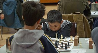 Two young men go toe to toe at the Scarborough Chess Club at Birkdale Community Centre. Younger players gain exposure to chess on computer before joining the club, SCC president Maurice Smith says.