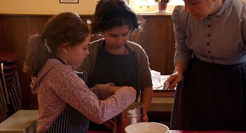 Sierra Tsolakis, 8, and Grace Oly, 9, learn to bake a Victorian dessert. The children took part in a baking workshop at the Scarborough Museum Dec. 3, as part of the museum's Festive Christmas weekends, which run the first three weekends in December.
