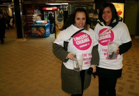 Anna and Jenna from Humber College collect tokens at Dundas Station on Feb. 11 during the Tokens4Change event. The tokens were collected for Youth Without Shelter to help homeless youth get around the city.