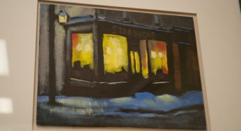 """Starbucks, King and Jarvis"" is an acrylic painting of a Starbucks across from the George Brown College campus Hirtescu attended."