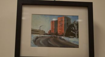 """""""Golden Red Sunrise, Forest Laneway"""" is one of Hirtescu's favourite scenes. She walked past the buildings every morning on her way to the Sheppard subway station to get to school downtown and they are her memory of her need to follow art in school."""