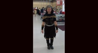 A Value Village employee models a Warrior Viking costume. Manager Jason Boyle says October is by far the store's busiest month of the year, mostly because Value Village features many brand new costumes and accessories.