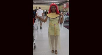 A Value Village worker models an ancient Egyptian Queen costume. 'Halloween is our big season,' says store manager Jason Boyle. 'It's like our Christmas.'