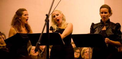Maria Corona, left, Carmela, center, and Annina get hysterical in the first act of the performance.