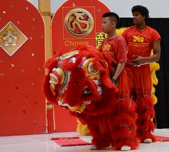 Performers David Man, left, and Kavin Ketheeswaran take a break after their performance to watch the dragon dance on stage during Sunday's Chinese New Year celebration at Scarborough Town Centre.