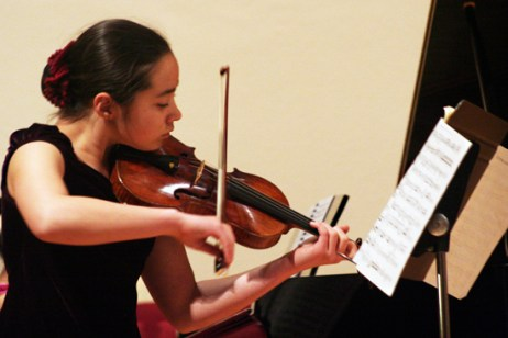 Emma Meinrenken gives a beautiful rendition of Beethoven's Violin Sonata No. 7 in C Mino, Op.32. No.2 during a fundraiser billed as Six Stars of Tomorrow.