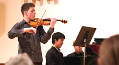 The audience listens attentively to Alexander Volkov (violin) and Yiwei Yao (piano) as they play a rousing rendition of Franck's Sonata for Piano and Violin in A Major. The fundraising event was hosted by Scarborough Bluffs United Church, 3739 Kingston Rd., on Feb. 11.