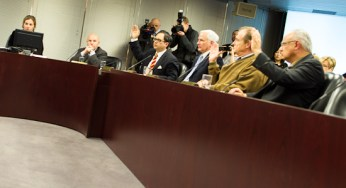 TTC chair Karen Stintz, vice-chair Peter Milczyn and commissioner John Parker watch as commissioners Denzil Minnan-Wong, Norm Kelly and Vincent Crisanti successfully vote to fire TTC chief general manager Gary Webster today at City Hall. Pictured, from left: Stintz, Milczyn, Minnan-Wong, Parker, Kelly and Crisanti.