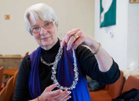 Sheila Torres says she loves to make crochet necklaces. She can make one in less than an hour.