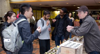 Students sample some homemade jelly while learning about its nutritional benefits.