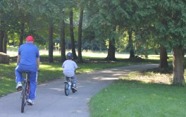 A man and his grandson enjoy a bike ride through the Terry Fox Route.