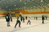 Members of the community came to celebrate the opening of the rink and enjoy skating on the fresh, slick ice.