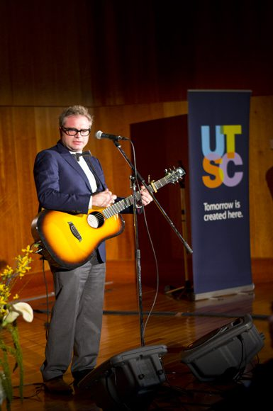 Steven Page performs his track Overjoy at the University of Toronto Scarborough on Wednesday.