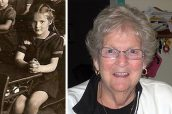 THEN AND NOW: 'I remember our desks in the higher grades had ink wells on the right-hand side, which does not show in the picture, and I am left handed so it was not convenient once we started writing with ink,' says Ann Dow of the photo taken of her in class at Duke of Connaught Public School in 1946. Dow, 73, attended the 100th Anniversary Homecoming of the school on Oct. 20 with her older sister, who graduated from Connaught in 1949.