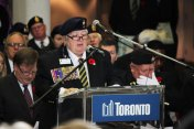 Commander Joyce Geddes of the Royal Canadian Legion gives speech at Scarborough Civic Centre.