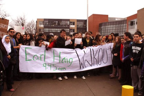Students at Earl Haig Secondary School left classes at 9:45 a.m. on Dec. 10 to protest against the province's Putting Students First Act, also widely known as Bill 115.