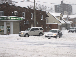 Monster snowstorm traps vehicles at Pape Avenue and Gowan Feb. 8.