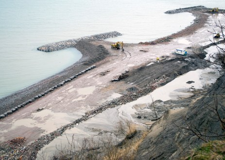 Construction is ongoing on the headland beach system.