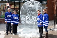 Ice sculpture commemorating Women's Hockey in Canada