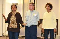Cast members of And Here from left; Babli Nessa, 59, Russell Woods, 56, and Hyacinth Aback, 76.