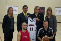 The speakers at the launch pose for a photo opportunity. Clockwise from left: Wendy Gittens, Executive Director of Wheelchair Basketball Canada; Bal Gosal, Minister of State for sport; Tracey MacCharles MPP Pickering-Scarborough East; Karen O'Neill, CEO of the Canadian Paraylmpic Committee; Mike Frogley, Academy Director; and Tyler Miller, an athlete who trains at the academy.
