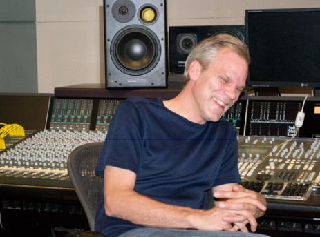 Senior engineer at Phase One Studio, Mike Smith, laughing in the recording studio.
