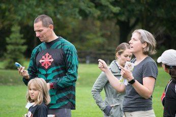 Meet Director Alison Waddell speaking with the group of Orienteer's.