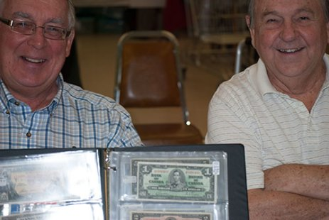 Coin Collectors Jim Breedon (L) and Gord Stevenson (R) at the Scarborough Coin show