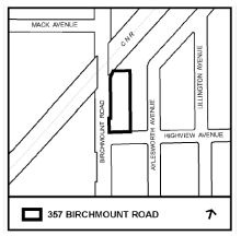 Map of the site: 375 Birchmount Ave.