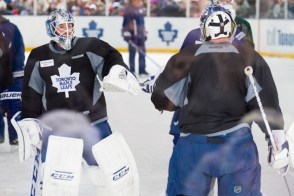 Jonathan Bernier and James Reimer trade off at a practice in East York.