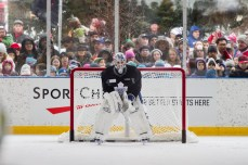 Maple Leafs goalie Jonathan Bernier guards the net in front of a crowd at a public practice in East Toronto on Feb. 21.