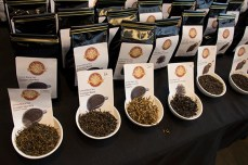 Vendors a the second-annual Toronto Tea Festival offer a variety of teas for sale, including Chinese teas like 'Golden Monkey'.
