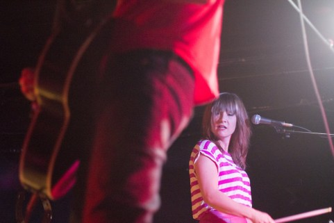 Sarah Kirkpatrick of catl looks over to Jamie Fleming in a recent show the pair played at the Horseshoe Tavern.