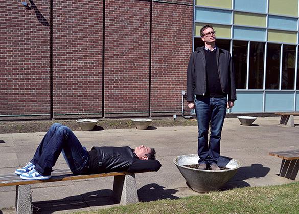 Josh Cochran (left) and Dan Riskin ham it up at Centennial College's East York campus. (Observer photo by Josh Genereux)