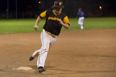 Will Johnstone rounds third en route to scoring on Mariotti's double.