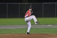 Ryan Hands winds up before delivering the final pitch to strike out the side in the sixth inning.