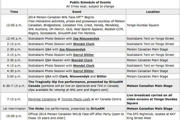 Dundas square activities schedule/NHL