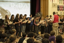 For their performance piece, these Grade 7 students express their reflections on remembrance with a French language song.