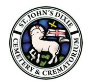 Logo of St. John's Dixie Cemetery & Crematorium that is embroidered on the bag of the remains