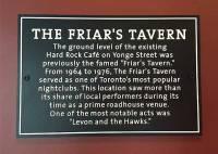The Friar's Tavern plaque inside the Hard Rock Café