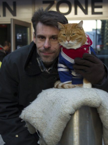 Leslie Noel and his cat, McLovin', outside of the Air Canada Centre on Match 11.