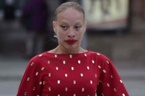 Canadian fashion model Stacey McKenzie attends the Stephan Caras show.