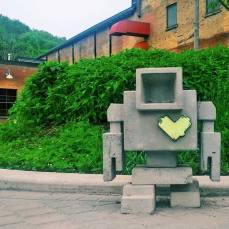A photo by local photographer, Susan Drysdale, of Brickworks Lovebot.