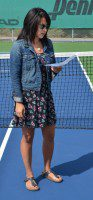President Christine Barachina speaking at the grand re-opening of the Thorncliffe Park Tennis Club.