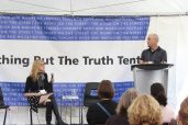 Journalist Mark Bulgutch reads his 'That's Why I'm a Journalist' essay at the Nothing but the Truth tent with host Sue Carter.