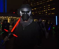 One Star Wars fan is dressed up as Kylo Ren, the main antagonist in Star Wars The Force Awakens
