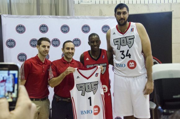 Raptors 905 introduce the team and staff on media day. From Left, Dan Tolzman, Jesse Mermuys, Shannon Scott, and Sim Bhullar.