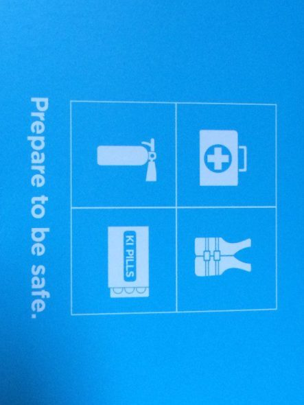 The front of the packaging shows what to do in the event of a nuclear emergency.